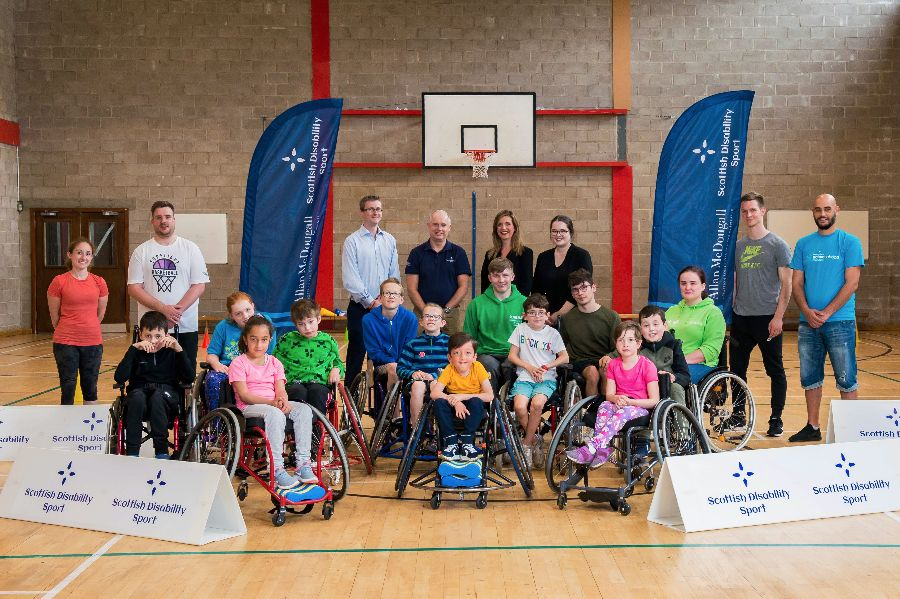 Young wheelchair athletes supporting Scottish Disability Sport