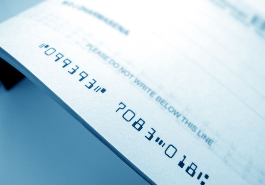 Close up of a cheque