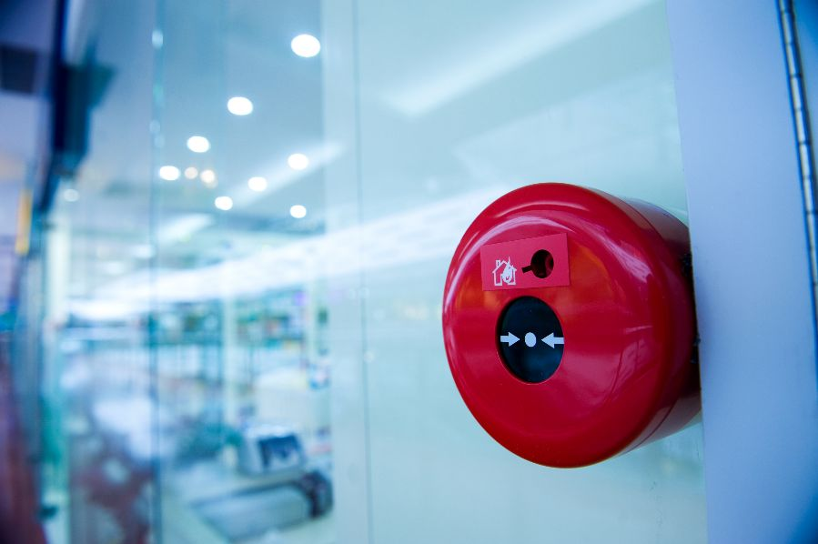 A fire alarm mounted on a wall