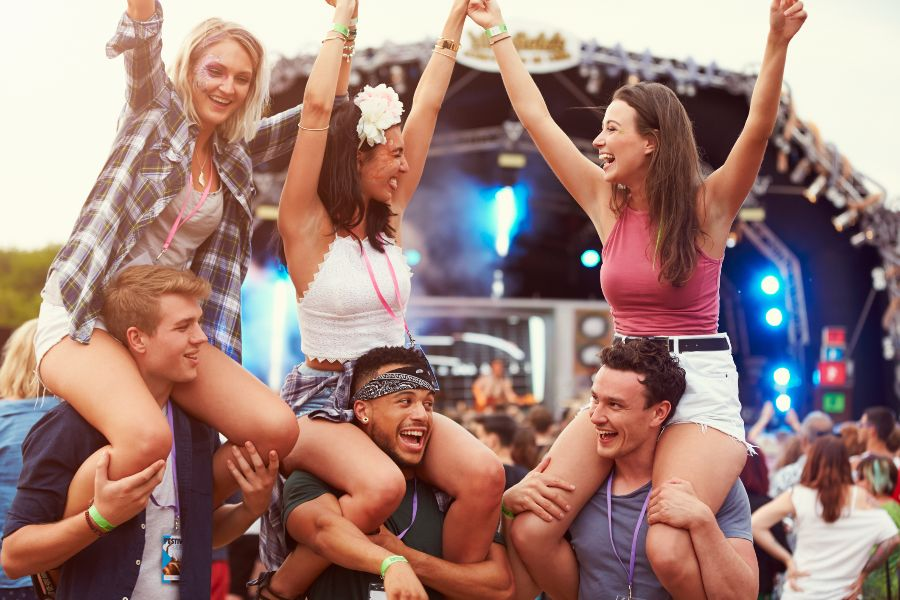 Young people at a festival