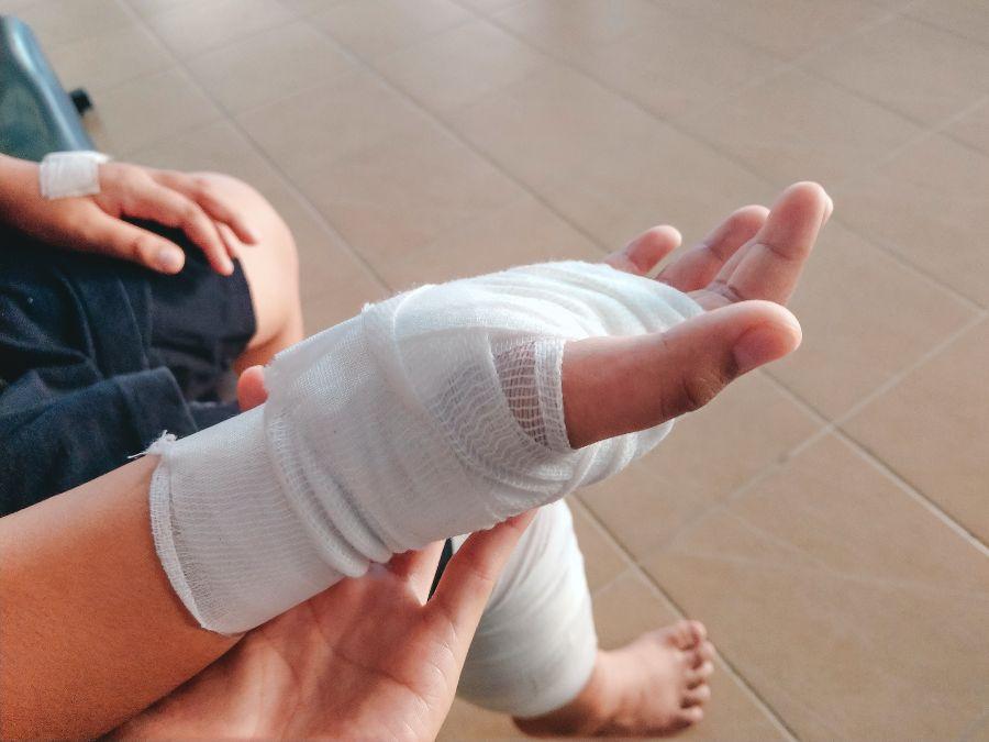 A bandaged hand